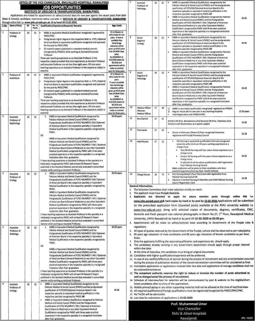 Institute Of Urology & Transplantation Rawalpindi Rmu Allied Hospitals Rawalpindi Jobs January 2020