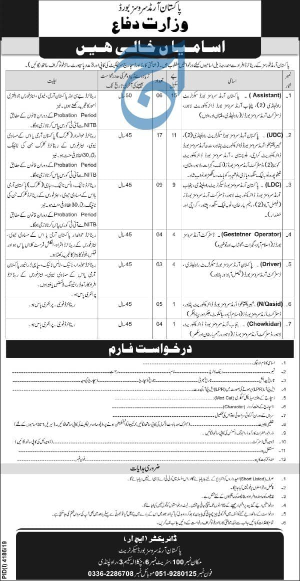 Pakistan Armed Services Board PASB Jobs January 2020