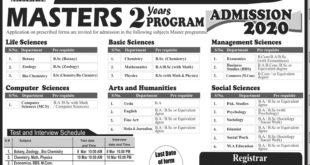 Sardar Bahadur Khan Womens University Quetta Admissions