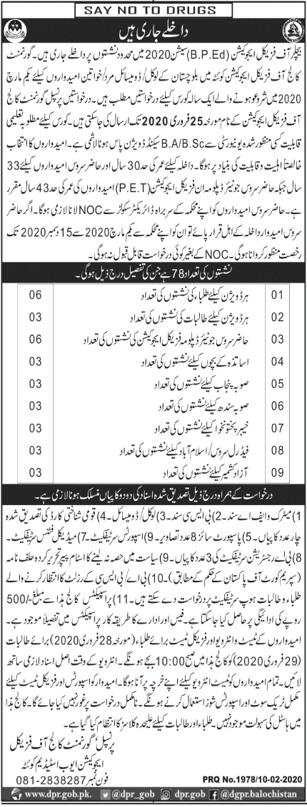 Bachelor Of Physical Education Quetta Admissions